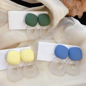 AOMU coréenne rétro couleur givré acrylique transparent Boucles d'oreilles longues Boucles d'oreilles en résine colorUL Filles d'été Aiguille d'Argent