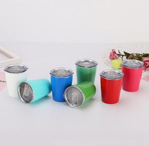Fedex 9 oz 12 oz crianças copo copo de aço inoxidável lindo copo de canudinho pequeno copo com tampa e palha portátil