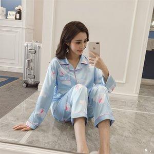 Seidenanzug Damen-White Rabbit Frühlingsseidenpyjama und Herbst Hülse langen Cartoon Pyjama