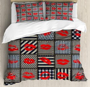 Fabric Duvet Cover Set Sexy Woman Figure Kiss Lipstick Forms on Striped Houndstooth Groovy Backdrop Bedding Set Black and Red