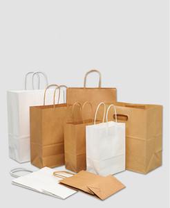 Papel Brown Bolsas com alças Granel sacos do presente, saco da festa de casamento Bag sacos de compras, Kraft Bolsas, Retail Saco 95% Pós-Consumo Materiais FSC