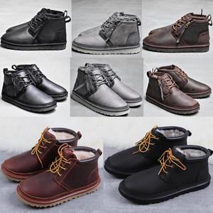 Botas de altura media del arco botas de los hombres de la muchacha 2020 del Arco-nudo mensuggs WGG clásicos de arranque de la nieve de invierno los zapatos de cuero negro azul tobillo # 032f11 #