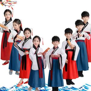 2019 trajes de niños tradicional china Ropa de los bebés Ancient Folk Danza Hanfu vestido escenario de funcionamiento Niños Cultura Tang