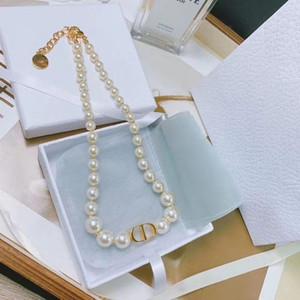Ins nueva manera de Pearl White Gold Charm Collar Gargantilla Mujeres