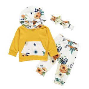 Autumn Winter Newborn Baby Girl Winter Clothes Floral Hooded Tops Long Pants 3PCS Outfits