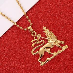 Ethiopian Löwe-hängende Halsketten-Ketten-Frauen-Männer-Goldfarben-Schmuck Afrika Äthiopien Löwe Halskette