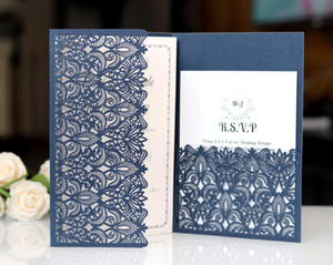 2019 Tri-fold pocket wedding invitations card with rsvp business thank you meeting cards envelope flora modern laser cut invitation paper