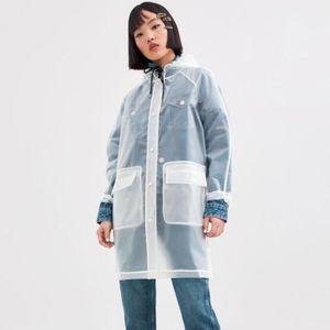 النساء عباءة لكل من الرجال والنساء مطبوعة تفاصيل شفافة معطف واق من المطر ارتداء معطف كل الفصول مع غرامة صنعة حجم S-M حجم L-XL