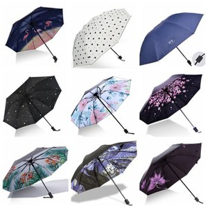 Regenschirme Falten Regen Frauen Regenschirm Anti-UV-Dame Sonnenschirm tragbare Reise Regenschirme Sun Rainny Unbrella 23 Designs Großhandel WZW-YW3846