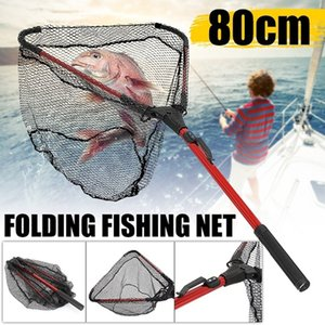 80 centímetros ao ar livre retrátil liga de alumínio único Triangular Ultra-Light Folding Handle Pesca Landing Net Pesca engrenagem