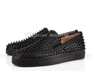 Designs Fashion Spike Loafer Dress Shoes Red Bottom Sneaker Luxury Party Wedding Shoes Genuine Leather Spikes Lace-up Casual Shoes