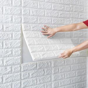 Ev Duvar Dekoru 3D Stereo Duvar Etiketler Su geçirmez Salon Yatak Odası Duvar Kaplama Kendinden yapışkanlı Simülasyon Tuğla Duvar Kağıdı