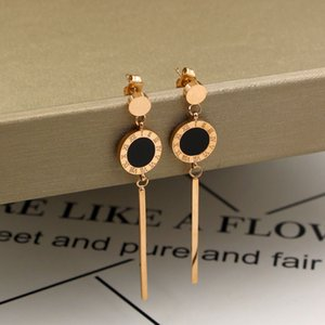 Fashion black and white Roman numerals long earrings ladies rose gold tassel earrings jewelry