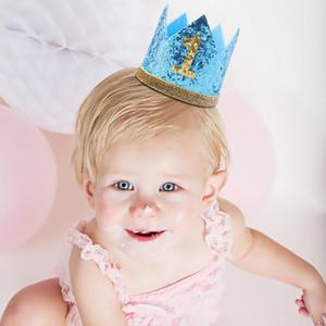 Jungen-Mädchen-Blau-erste Geburtstags-Hut Priness Crown Nummer 1. 2 3 Year Old Baby-Party-Hut Glitter Geburtstag Kinderstirnband Geschenke