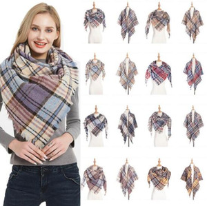 Plaid Scarf Girls Check Tassel Wraps Grid Lattice Shawl Oversized Triangle Neck Scarves Fringed Pashmina Winter Neckerchief Blankets YP6456