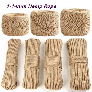1-14mm High Quality Natural Rope DIY Handmade Craft Home Decoration Cords Retro Jute Twine for Gift Packing Bags Tag Supply