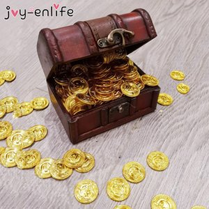 DIY Decorations 50pcs Gold Coins Plastic Game Coin Pirate Treasure Game Halloween Play Money Pirate Party Props Kids Children Party Decor