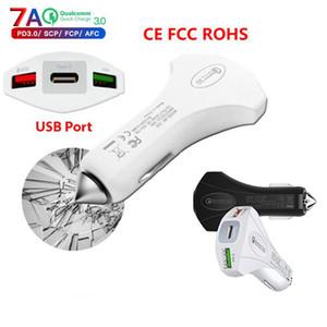 Qualité de la marque Mini 2USB ports chargeur de voiture Quickcharge 3.0 avec marteau d'urgence de sécurité de type C QC3.0 rapide adaptateur de chargeur de voiture DHL