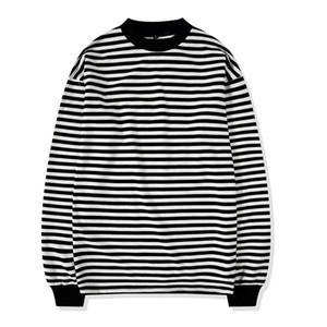 Mens-Sommer-Designer-T-Shirt beiläufige Turtleneck Gestreifte Loose Fit Long Sleeve Top Homme Tees