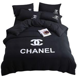 Branded de lençóis de algodão Define sólido Folha Carta Cor Designer Consolador Tampa Pillowcase Rainha da forma Adulto Home Textile Máquina