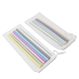 Silicone Straw Set Épais de qualité alimentaire réutilisable en silicone Paille lait jus Bubble boire du thé en silicone Set Straws