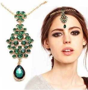 60pcs / lot clipes DIY Verde Liga Nacional Emerald Customs Pendant frontlet Duplo Forks Cabelo Hair Styling Tools Acessório HA913