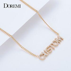 DOREMI cristal colgante collar de joyería de Cartas de Mujeres Nombre personalizado Collares Números Circonia colgante personalizado