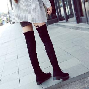 Высокие сапоги зимние женские сапоги Женщины над коленом Boots Плоский Stretch Сексуальная мода обувь 2018 Black Botas Mujer tyh6