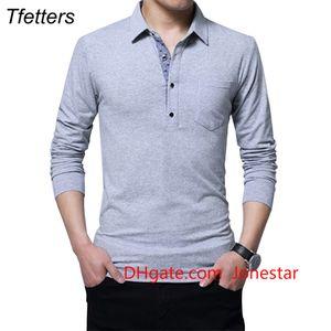 TFETTERS Autumn Casual Men T-shirt Cotton Regular Fit T-shirt Long Sleeve T-shirt Men Turn Down Collar Plus Size 5XL