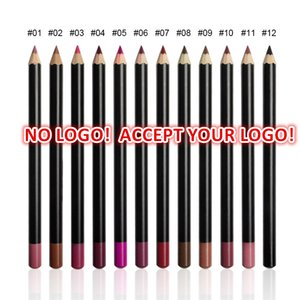 Accept logo printing! 12 colors Lip Pencil 3in1 Matte Lip liner Pen eyebrow pencil eyeliner Waterproof Natural component customized logo