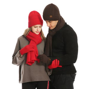 Winter Knitted Hats Scarf Gloves Set Men Women Touch Screen Glove Scarves 4 pcs Hat Thick Skullies Beanies LJJM2365