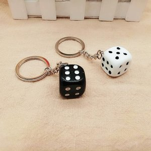 FREE Shipping by FEDEX 100pcs lot New Plastic 2cm Dice Key Chains 3D Dice Shaped Keyrings for Gifts