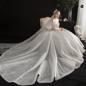 주요 웨딩 드레스 2019 새로운 가을, 신부 결혼식, 어깨를 흔들어, 별이 빛나는 결혼 고급스러운 무거운 노동자 꼬리.