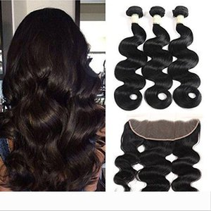 100% Unprocessed Body Wave Hair Brazilian Virgin hair 3 Bundles With 13x4 Lace Frontal Hair Extensions Wefts With Closure Natural Color