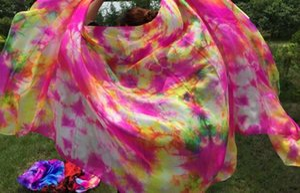 Свободная перевозка груза 100% Real Silk Belly Dance Шелковый фата Tie окрашенная шарф Stage Performance Реквизит 250 * 114см Красочный весенний цветок