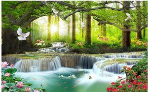 3d paisaje hermoso mural papeles pintados del paisaje forestal gran árbol verde cascada fondos de pantalla de la pared de fondo