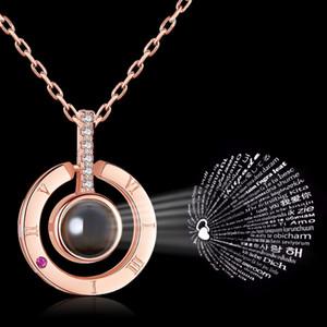 100 Lingue collana I Love You proiezione Ciondolo collane del Choker romana pendente di cristallo numeri 4styles dei monili della catena GGA2718