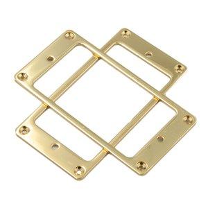 Set bestehend aus 2 Humbucker Pickup Ring Einbaurahmen Flachboden für elektrische Gitarren-Aufnahme, Gold