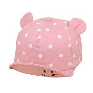 Cute Baby Dot Hats Baby Boys Girls Kids Polka Peak Hat Smiling Face Wave Point Baseball Cap Sunhat casquette enfant Hat 1D18
