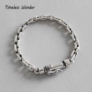 Timeless Wonder Argent 925 Geo Box chaîné Bracelet Femmes Jewlery Punk Gothique cadeau Amitié Boho Couple Ins 4552