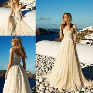 2020 Light Champagne Robes de mariée Boho Beach en mousseline de mousseline de mousseline d'une ligne Appliques longues robes de mariée robe de mariée