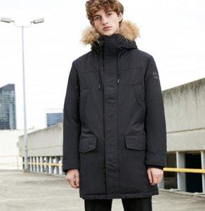 MLMR Men's Winter Down Jacket Fur Collar Hooded Long Hoodie Outerwear Parka Coat JackJones Menswear Brand 218312517