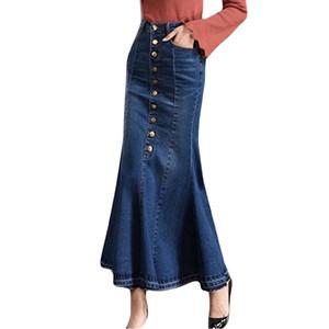 Kadın Yaz seksi etekler parti gece kulübü Moda Uzun Yüksek Bel Düğme Cep Ön Fishtail Denim Maxi Etekler # 190125