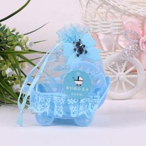 Filati Basket Candy Box con nastro pizzo modello orso battesimo della ragazza del ragazzo del regalo di compleanno Baby Shower sacchetti del partito Favor goodie