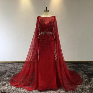 Lace Red Vintage Appliuqed Mermaid Prom Dresss luxo frisada Vestido de Noite Com Xaile Longo Formal Partido Vestidos Pageant