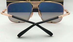 Venta al por mayor-Hombres Gafas de sol cuadradas de titanio 2087 Oro Negro Gris Lente degradada Gafas de sol de marca Nuevo con caja