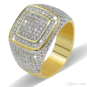 Hip Hop 18K Gold Cluster Planted CZ Iced Out Brass Rings for Men Crystal Ring for Men Women