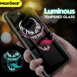 Batman Superman Luminous Tempered Glass Case For iPhone 7 8 6 6s Plus 11pro Max Xr Venom Iron Man Hard Cover mix YY
