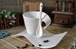European White Wave Coffee Cup Ceramic Creative Household Cappuccino Milk Teacup