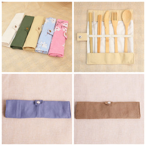 Wooden Dinnerware Set Bamboo Teaspoon Fork Soup Knife Straw Catering Cutlery Set with Cloth Bag Kitchen Cooking Tools Flatware Sets ZZA1149